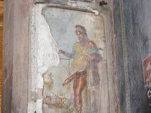 Excavations of Pompeii sex scene in a fresco. Royalty Free Stock Photos