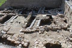 Excavations, Tel Megiddo Ruins, Israel. Archeology excavations of ancient buildings of stones in Tel Megiddo ruins and archeology site, Israel Stock Images