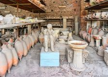 Excavations and victims of ancient city Pompeii Stock Photography