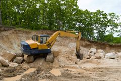Excavator. Road works Royalty Free Stock Photo