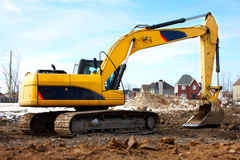 Excavator. Construction. Modern Yellow excavator. Heavy machine Stock Photography