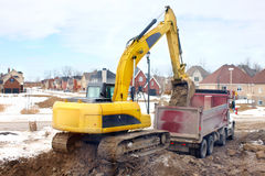Excavator. Construction. Modern Yellow excavator. Heavy machine Royalty Free Stock Photos