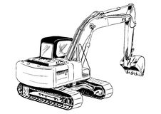 Excavator. Black sketch of big excavator Royalty Free Stock Images