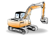 Excavator. Sketch of excavator on the white Stock Photography