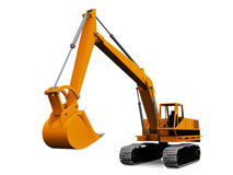 The excavator. Mechanical  excavator on a white background Royalty Free Stock Images