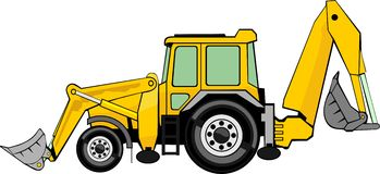 Excavator. Building excavator and frontal loader on a wheel base Royalty Free Stock Photography