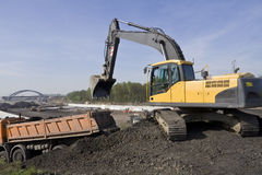 Excavator. This is a view of working excavator Stock Photography