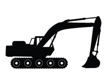 Excavator. Silhouette big excavator, vector illustration Royalty Free Stock Images