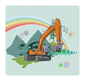 Excavator. Vector color illustration of a excavator. The vector file is in AI-EPS8 format Royalty Free Stock Photo