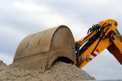Excavator in action. Dredging work in the application Stock Photo