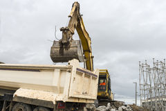 Excavator in action Stock Image