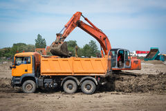 Excavator in action Royalty Free Stock Image