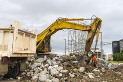 Excavator in action Stock Photos