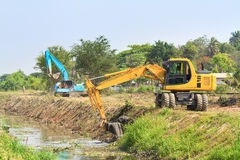 Excavator along river Royalty Free Stock Images