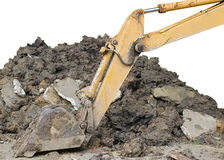 Excavator arm. Closeup image of excavator arm parking on worksite Royalty Free Stock Photos