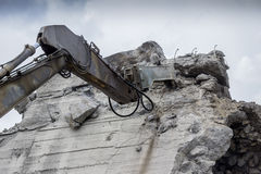 Excavator arm with with hydraulic jackhammer Stock Image