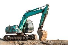 Excavator backhoe. On the ground isolated on white royalty free stock image