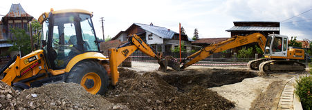 Excavator and backhoe Royalty Free Stock Images