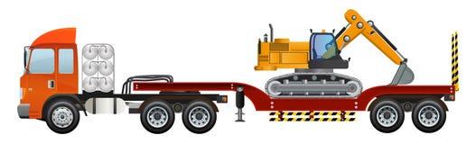 Excavator on big truck trailer vector design. Stock Photography