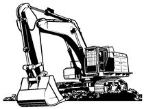 Excavator. Black and White Outlined Illustration, Vector Royalty Free Stock Image
