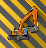 Excavator on black and yellow stripped Royalty Free Stock Photography