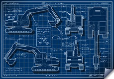 Excavator Blue Project in Five Orthogonal Views Royalty Free Stock Photo