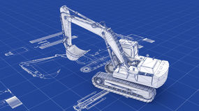 Excavator Blueprint Royalty Free Stock Photo