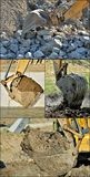 Excavator bucket collage #1 Royalty Free Stock Images