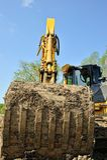 Excavator bucket front view Stock Photos