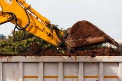 Excavator Bucket Sand Truck Bin Stock Photos