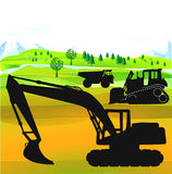 Excavator and bulldozer Royalty Free Stock Image