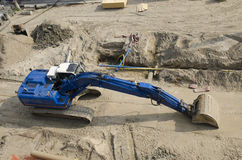 Excavator bulldozer at construction site Stock Image