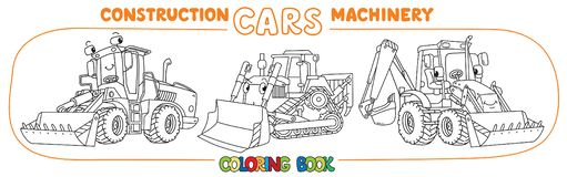 Funny constuction cars with eyes Coloring book set royalty free illustration