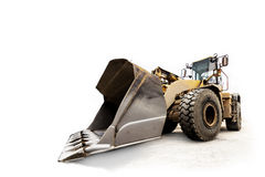 Excavator / bulldozer - industrial vehicle isolated on white Stock Photos