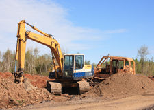 Excavator And Bulldozer Royalty Free Stock Images