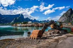 Excavator, bulldozer repair work on the road. Norway Stock Photo