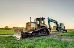 The excavator and bulldozer. Royalty Free Stock Photo