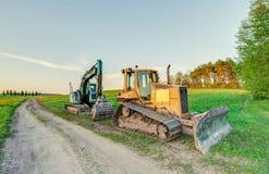 The excavator and bulldozer. Stock Photo