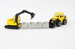 Excavator and bulldozer in work Royalty Free Stock Photography