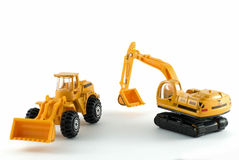 Excavator and bulldozer toys Stock Photos