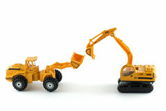 Excavator and bulldozer toys Stock Images
