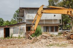 Excavator, bulldozer in work demolition construction Stock Photography