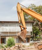 Excavator, bulldozer in work demolition construction Royalty Free Stock Image