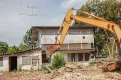 Excavator, bulldozer in work demolition construction Royalty Free Stock Images