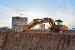 Free Excavator CASE CX210 Working At Construction Site. Construction Machinery For Excavating, Loading, Royalty Free Stock Photos - 197414688