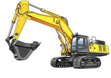 Excavator caterpillar. Machine excavation equipment bucket figure ground royalty free illustration