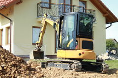 Excavator on construction stock images