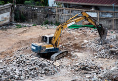 Excavator with construction equipment at site Royalty Free Stock Photography