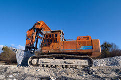 Excavator. Construction and mining machinery. Excavator. Construction and career tehnika.Ekskavator after work. At work Stock Photo