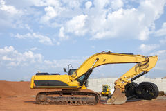 Excavator at Construction Site Stock Photography
